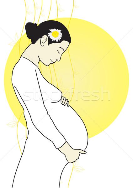 ストックフォト: 美しい · 妊婦 · 黄色 · サークル · 少女 · 塗料