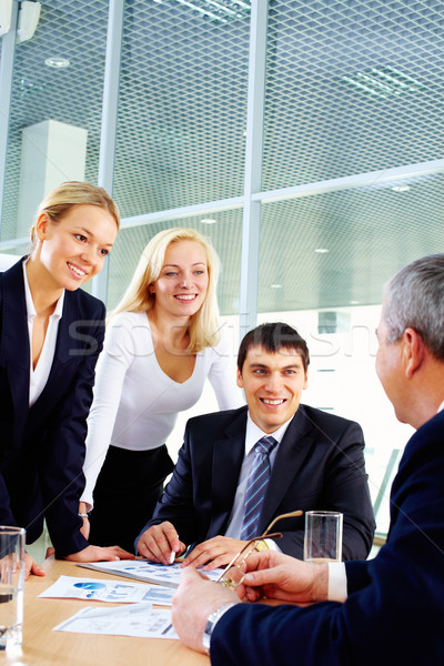 Stock photo: Group and their leader