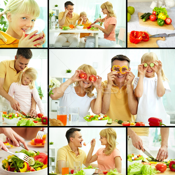 Family of vegetarians Stock photo © pressmaster