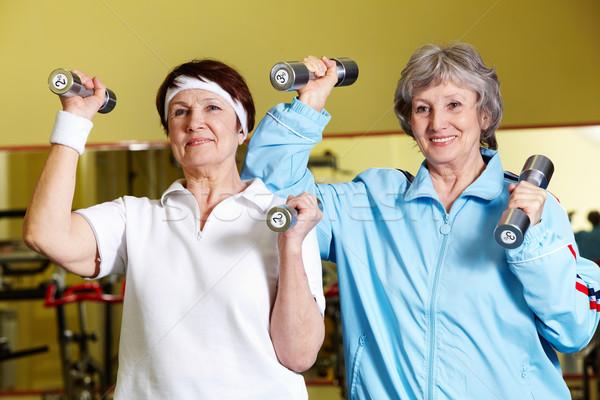 Stock fotó: Testépítés · portré · kettő · idős · nők · emel