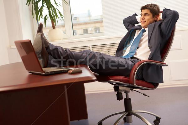 Stock fotó: Boldog · üzletember · portré · sikeres · munkahely · iroda