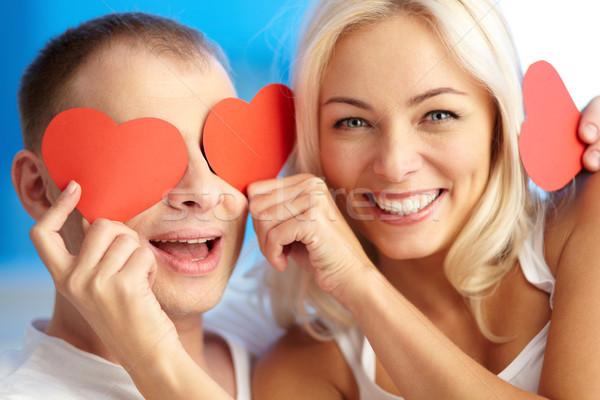 Stockfoto: Valentijnsdag · portret · gelukkig · vrouw