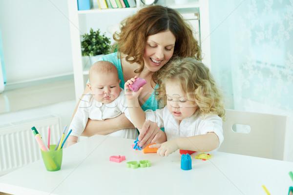 Csinos nő idő gyerekek otthon család lány Stock fotó © pressmaster