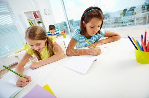 девочек рисунок портрет школьницы месте школьный товарищ Сток-фото © pressmaster