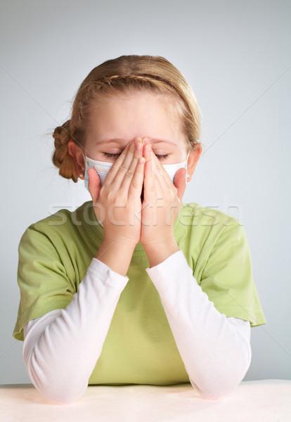 Ziek meisje portret gezicht masker kinderen Stockfoto © pressmaster
