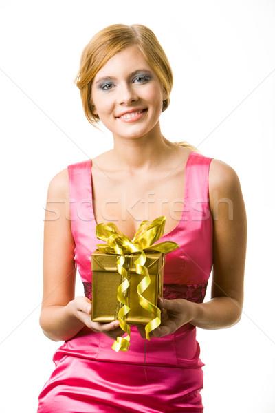 Foto stock: Natal · felicidade · retrato · feliz · feminino · dourado