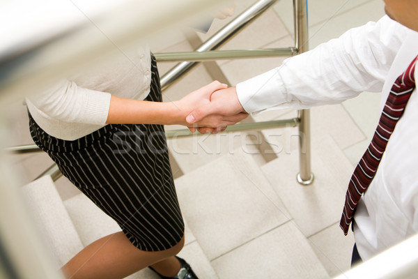 Stock fotó: Siker · fotó · kézfogás · üzleti · partnerek · áll · lépcsősor