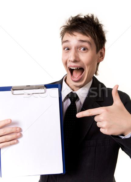 Stock fotó: Néz · fotó · meglepődött · üzletember · mutat · üres · papír