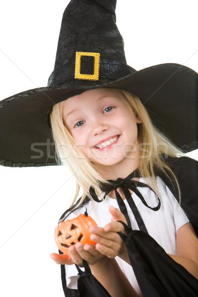 Halloween portré lány boszorkány jelmez kicsi Stock fotó © pressmaster