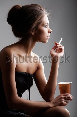 Sigara içme kız portre güzel kadın plastik Stok fotoğraf © pressmaster