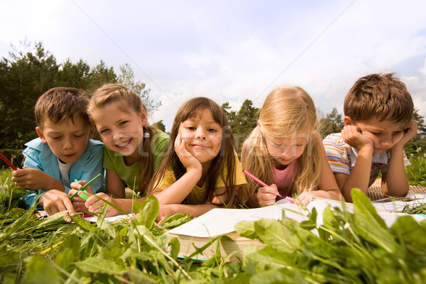 Stock photo: Schoolchildren outside