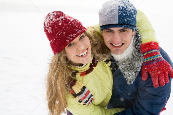 örömteli pár portré szórakozás szabadtér tél Stock fotó © pressmaster