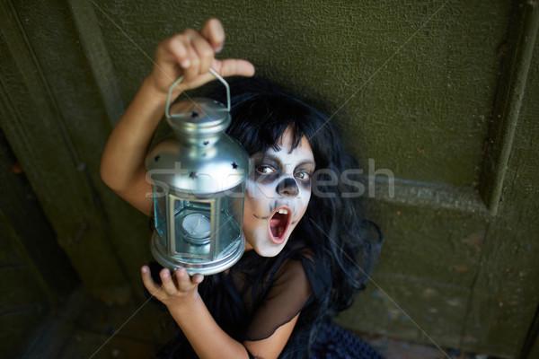 Dziecko portret halloween dziewczyna latarnia Zdjęcia stock © pressmaster