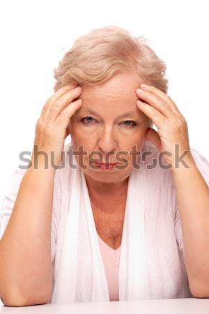 Maux de tête portrait malade femme toucher Photo stock © pressmaster