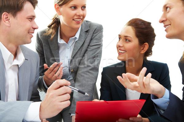 Konzultáció fotó üzleti partnerek megbeszél terv új Stock fotó © pressmaster