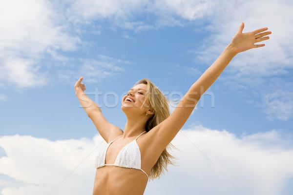 Lode dio ritratto ragazza felice bianco bikini Foto d'archivio © pressmaster