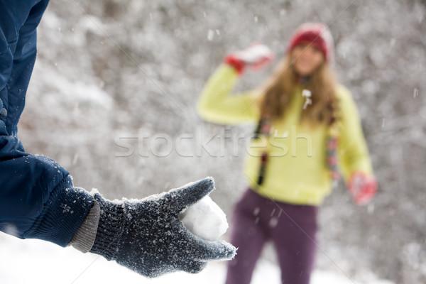 Sneeuw bal portret vrouw man Stockfoto © pressmaster
