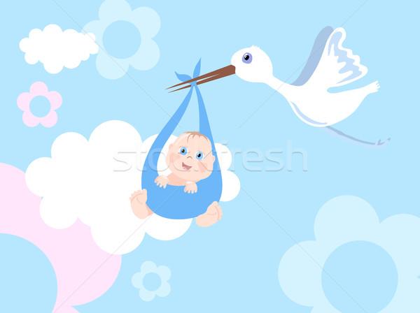 Storch Säugling Blume abstrakten Kind Hintergrund Stock foto © pressmaster
