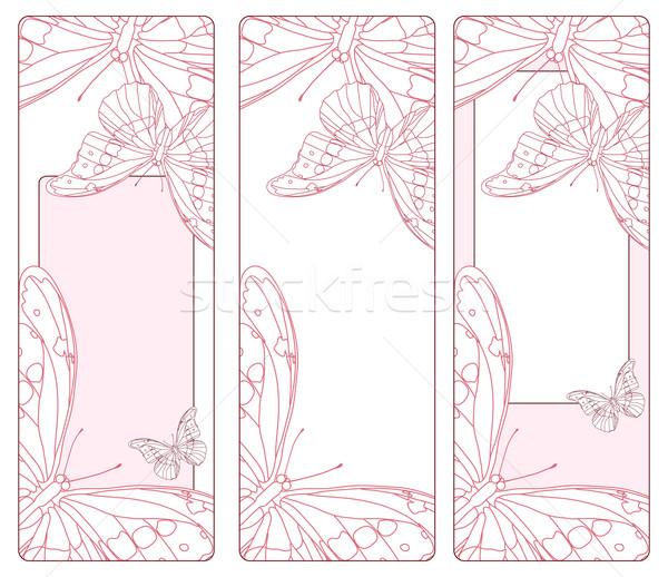 Stok fotoğraf: Pembe · kartları · dikey · kelebekler · soyut · doğa