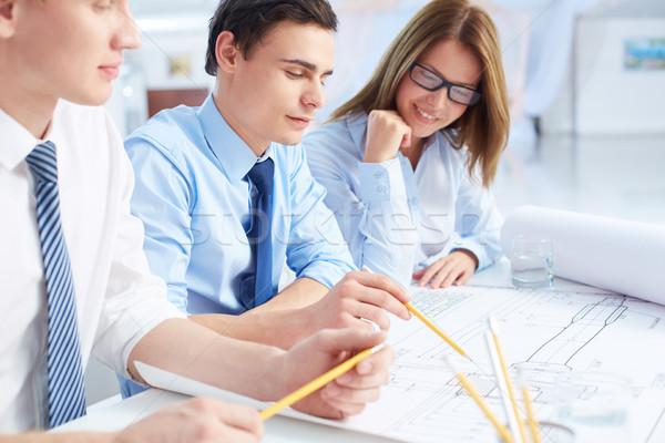 Stock fotó: Magyaráz · stratégia · csapat · mérnökök · megbeszél · terv