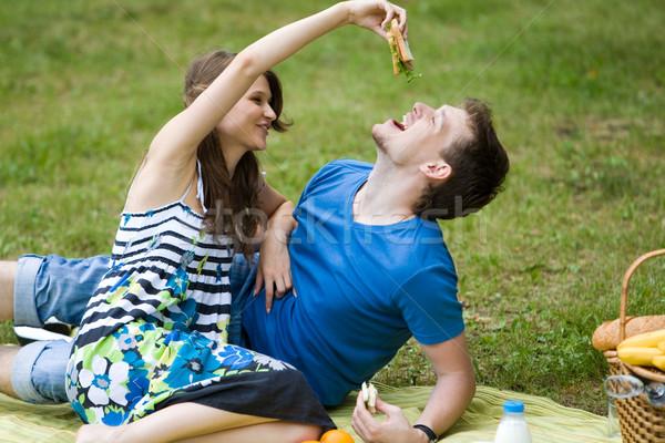 Stockfoto: Lunch · foto · verliefd · paar · picknick · gelukkig · meisje