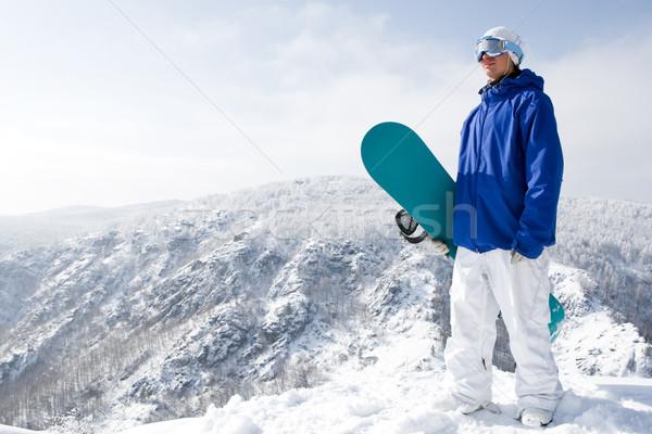 Foto stock: Serenidad · retrato · feliz · snowboard · pie
