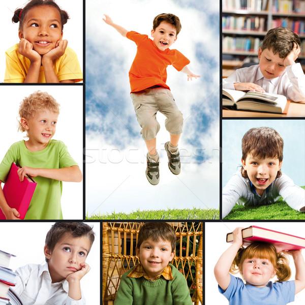 Сток-фото: детство · коллаж · портретов · различный · школьников · улыбка