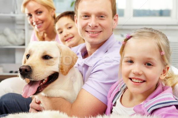 Сток-фото: счастливым · дочь · счастливая · семья · четыре · собака · сидят
