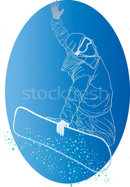 Stockfoto: Witte · silhouet · Blauw · cirkel · man