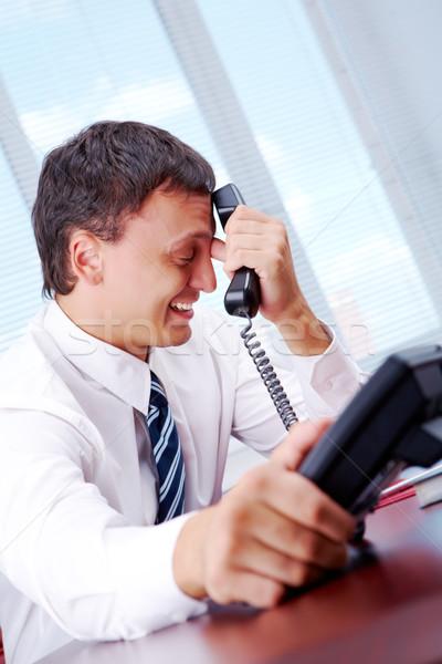 Rossz hírek portré csalódott munkáltató telefon üzlet Stock fotó © pressmaster