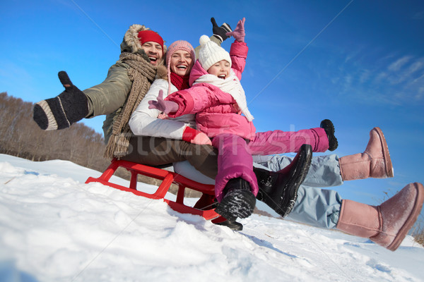 Family on sledge Stock photo © pressmaster