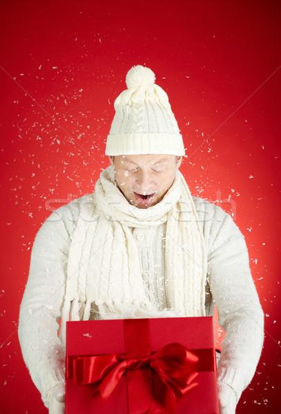 Winter portret verwonderd man Open sneeuwvlokken Stockfoto © pressmaster