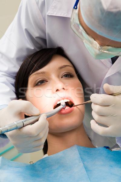 Foto stock: Dentista · jovem · feminino · abrir · boca