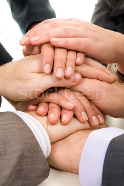 Stockfoto: Ondersteuning · afbeelding · zakenlieden · handen · top · ander