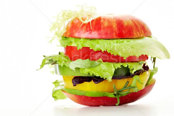 ışık görüntü sebze Burger yukarı Stok fotoğraf © pressmaster