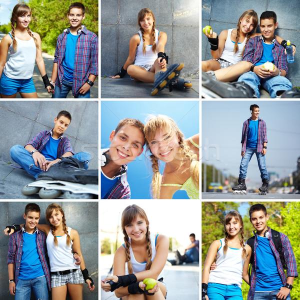 Giovanile amici collage felice ragazzi tempo libero Foto d'archivio © pressmaster