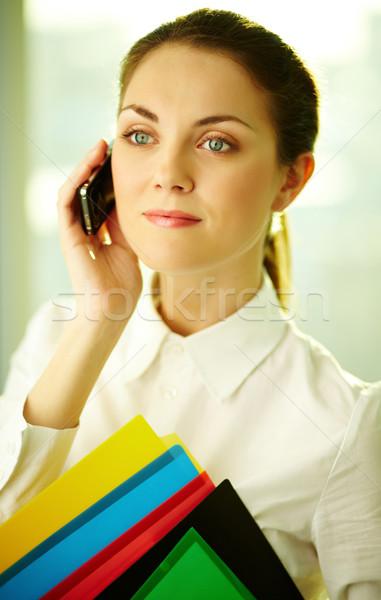 Foto stock: Falante · telefone · belo · empresária · celular · escritório