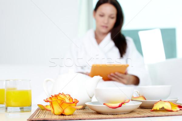 Fürdő vendégszeretet kép kettő porcelán csészék Stock fotó © pressmaster