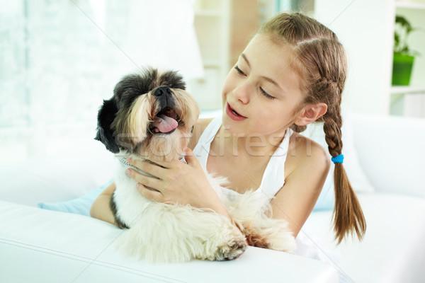 Kid with dog Stock photo © pressmaster