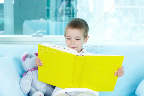 Kicsi olvasó fiú olvas érdekes könyv Stock fotó © pressmaster