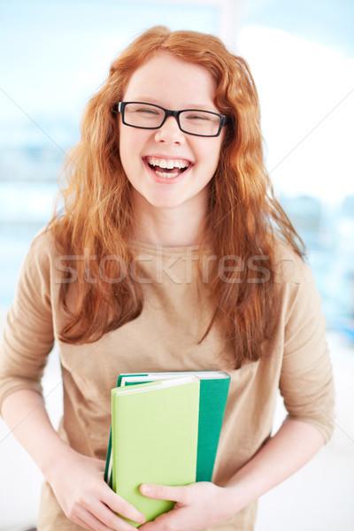 Ekstatyczny dziewczyna okulary książek Zdjęcia stock © pressmaster