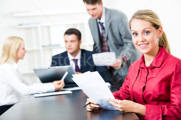 привлекательный секретарь фото красный рубашку Сток-фото © pressmaster