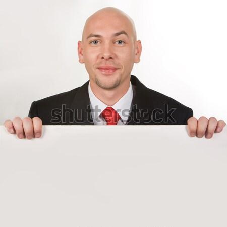 Foto stock: Exitoso · empresario · foto · sonriendo · masculina · detrás
