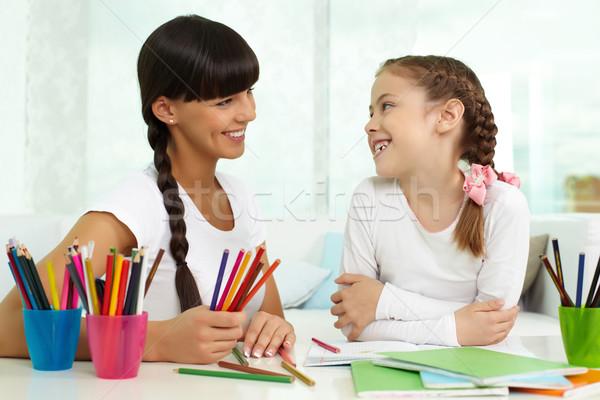 Stockfoto: Praten · moeder · portret · meisje · naar · tekening