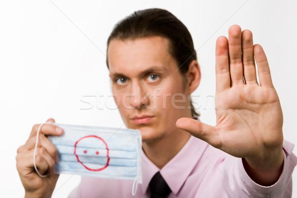 Stop disznó influenza fotó komoly férfi Stock fotó © pressmaster