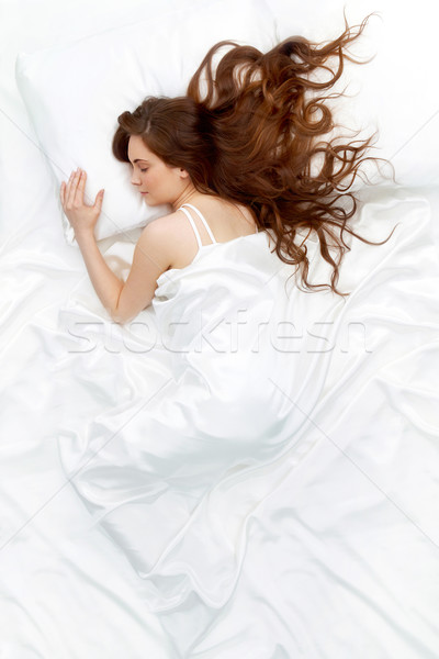 Alszik nő fölött kilátás fiatal gyönyörű nő Stock fotó © pressmaster