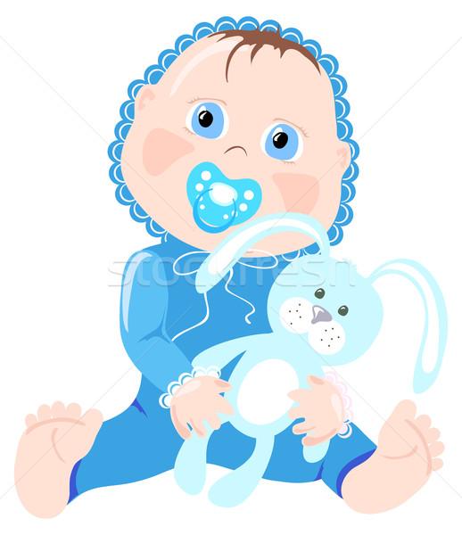 Stockfoto: Zuigeling · baby · Blauw · dragen · bunny · meisje