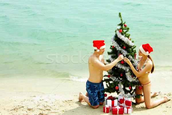 új év fa portré boldog pár mikulás Stock fotó © pressmaster