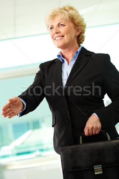 Stockfoto: Welkom · portret · glimlachend · zakenvrouw · aktetas
