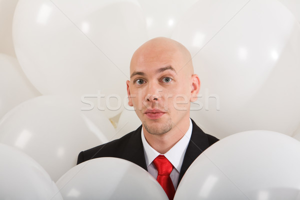 Foto stock: Hombre · dentro · globos · imagen · guapo · empresario